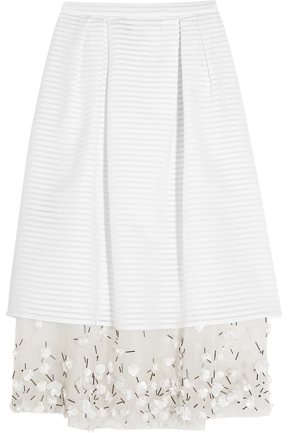 Mother of Pearl Hudson Embellished Organza-Trimmed Cotton-Blend Skirt, White, Women's, Size: 6