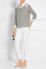 Lace-paneled cotton-blend terry sweatshirt