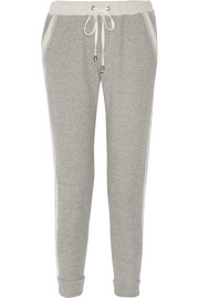 Lace-trimmed cotton-blend terry track pants