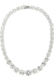Rhodium-plated cubic zirconia necklace