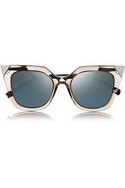 Embellished cat eye acetate mirrored sunglasses