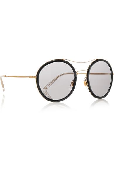 Round Gucci Sunglasses  gucci round frame acetate and metal sunglasses net a porter com