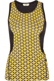 Mesh-paneled printed stretch-jersey tank
