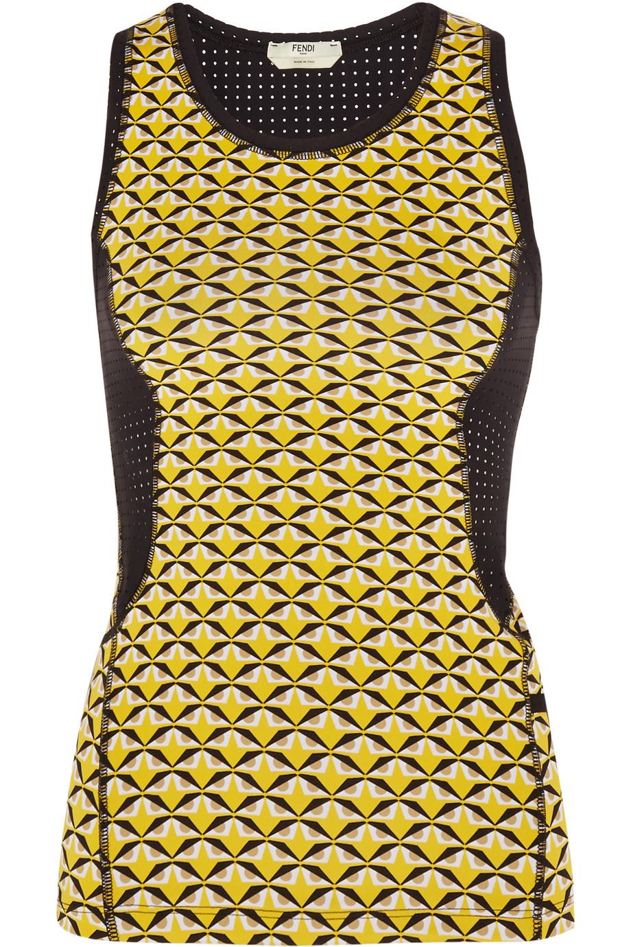 Fendi Mesh-Paneled Printed Stretch-Jersey Tank, Yellow, Women's, Size: 44