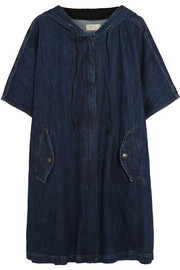 Oversized stretch-denim hooded poncho