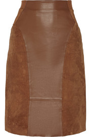 Dia paneled leather and suede pencil skirt