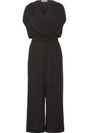 Gel wrap-effect crepe jumpsuit