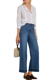 MiH Jeans Ile scalloped cotton-voile blouse