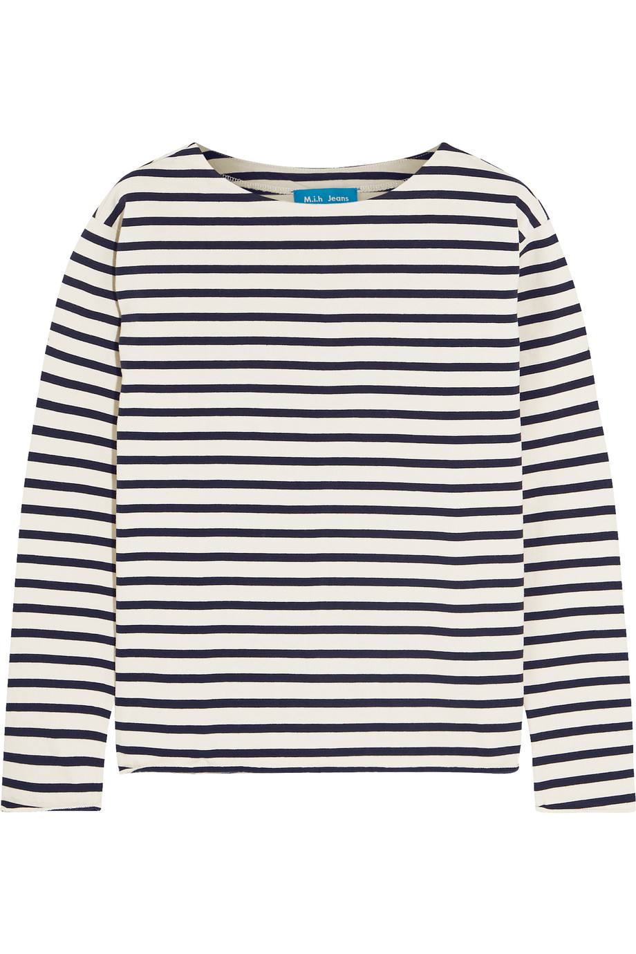 Mih Jeans Striped Cotton-Jersey Top, White, Women's