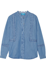Ile scalloped cotton-chambray top
