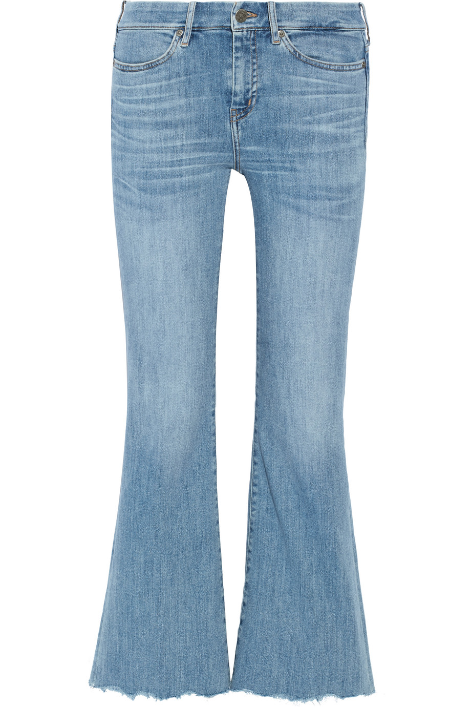 Mih Jeans Lou Cropped High-Rise Flared Jeans, Light Denim, Women's, Size: 26