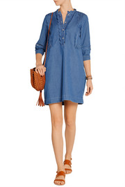 MiH Jeans Angie scalloped cotton-chambray mini dress