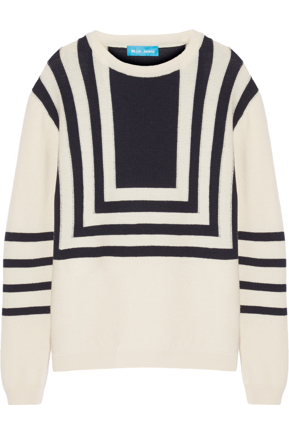 Intarsia Merino Wool Sweater, Ecru, Women's