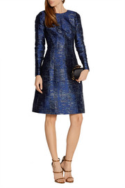Metallic silk-blend jacquard dress