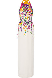 Embellished silk-satin halterneck gown