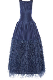 Feather-trimmed silk-faille gown