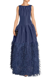 Oscar de la Renta Feather-trimmed silk-faille gown