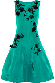 Oscar de la Renta Sequin-embellished silk-faille dress