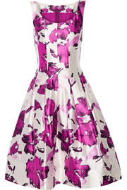 Pleated floral-print silk dress