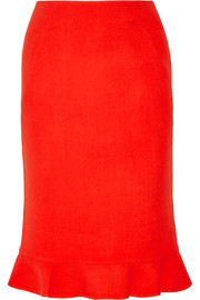 Fluted wool pencil skirt