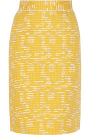 Cotton-blend tweed pencil skirt