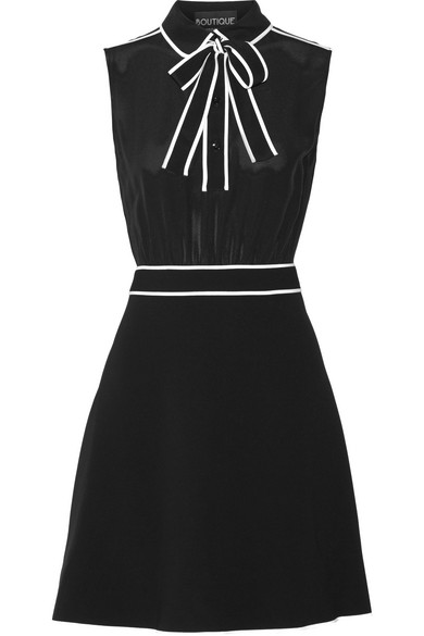 Boutique Moschino - Pussy-bow Silk-chiffon And Stretch-crepe Mini Dress - Black