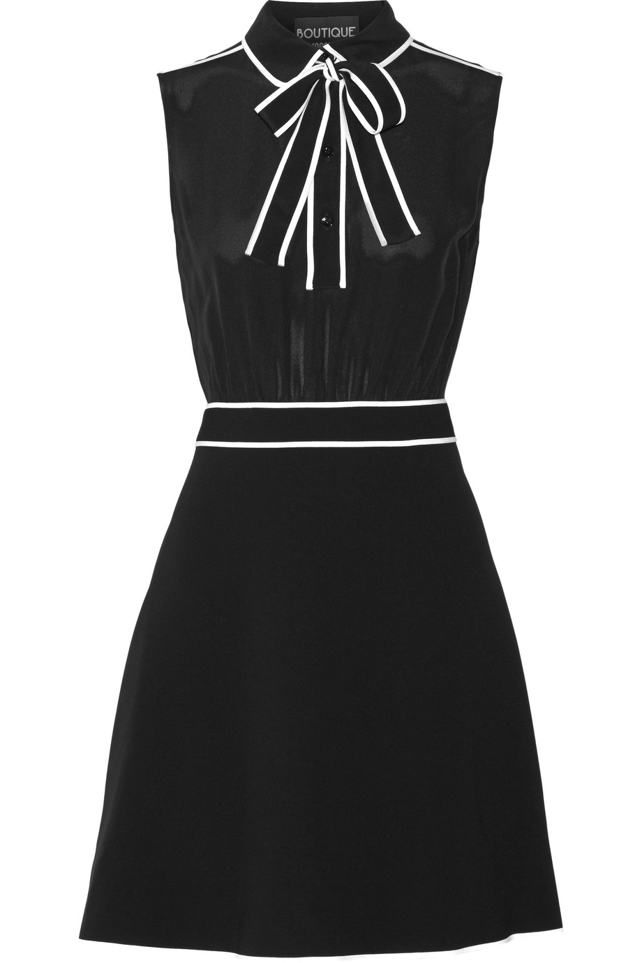 Pussy-Bow Silk-Chiffon and Stretch-Crepe Mini Dress, Black, Women's, Size: 40