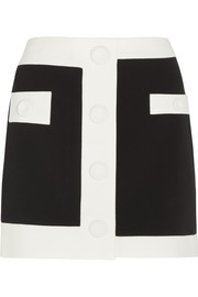 Two-tone crepe mini skirt