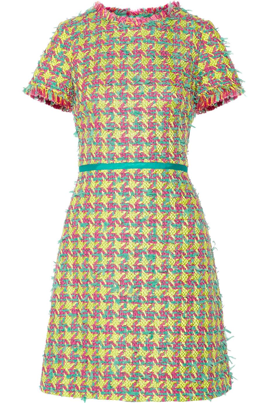 Fringed Bouclé-Tweed Mini Dress, Size: 46