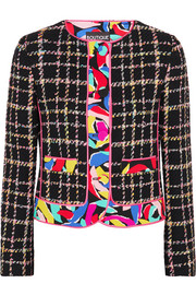 Printed crepe-trimmed bouclé-tweed jacket