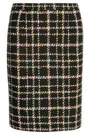 Wool-blend bouclé-tweed skirt