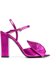 Boutique Moschino Bow-embellished metallic leather sandals