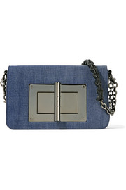 Tom Ford Natalia medium leather-trimmed denim shoulder bag
