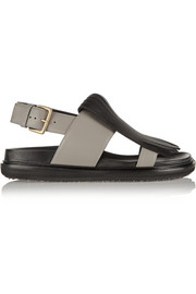 Marni Fringed two-tone leather slingback sandals