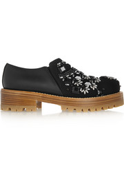 Embellished crepe and leather brogues