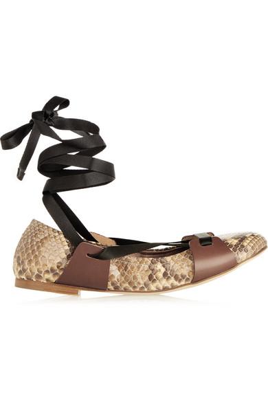 marni ballerinas aus pythonleder mit lederbesatz zum. Black Bedroom Furniture Sets. Home Design Ideas