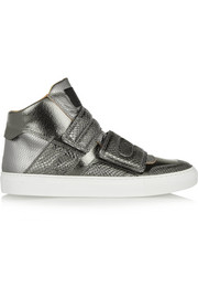 Metallic lizard-effect and textured-leather high-top sneakers