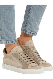 Patent and lizard-effect leather and suede sneakers