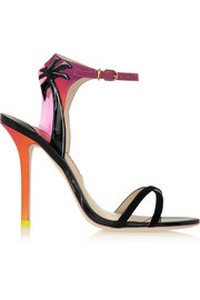 Sophia Webster Malibu Sunset vinyl-trimmed patent-leather, suede and satin sandals