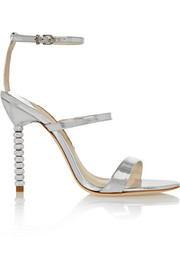 Rosalind crystal-embellished metallic leather sandals