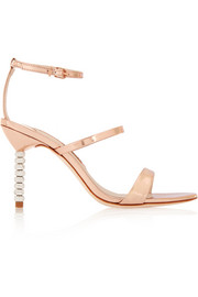 Rosalind Crystal embellished metallic leather sandals