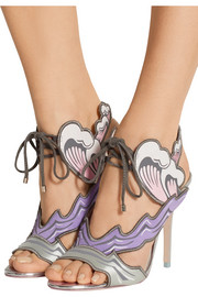Heaven Tempest Orchid satin and suede sandals
