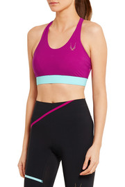 Color-block stretch sports bra