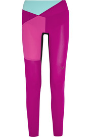 Color-block mesh-paneled stretch leggings