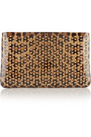 Loubiposh spiked leopard-print patent-leather clutch