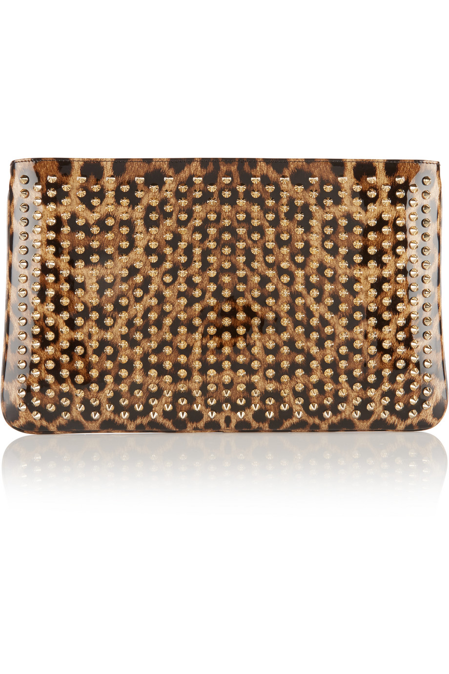 Christian Louboutin Loubiposh Spiked Leopard-Print Patent-Leather Clutch, Leopard Print, Women's