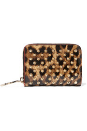 Panettone spiked leopard-print patent-leather wallet