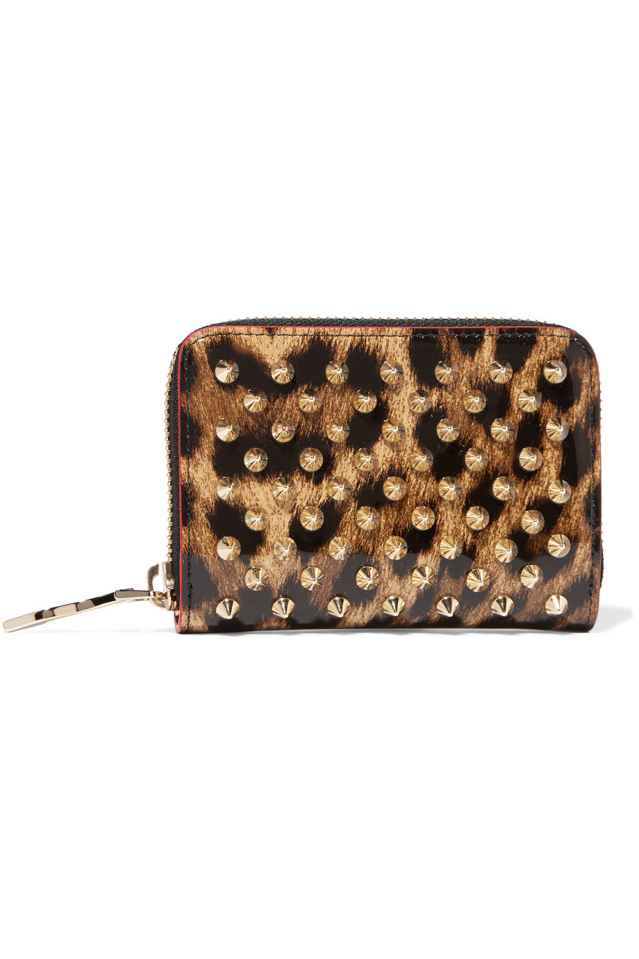 Christian Louboutin Panettone Spiked Leopard-Print Patent-Leather Wallet, Leopard Print, Women's