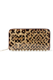 Panettone spiked leopard-print patent-leather continental wallet