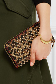 Christian Louboutin Panettone spiked leopard-print patent-leather continental wallet